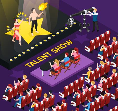 Composizione isometrica della gente dell'artista di strada con la vista dell'auditorium durante le riprese del talent show con illustrazione vettoriale di personaggi umani Vettoriali