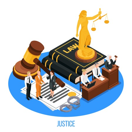 Law justice isometric composition with golden figurine of themis upon book of law with human characters vector illustration