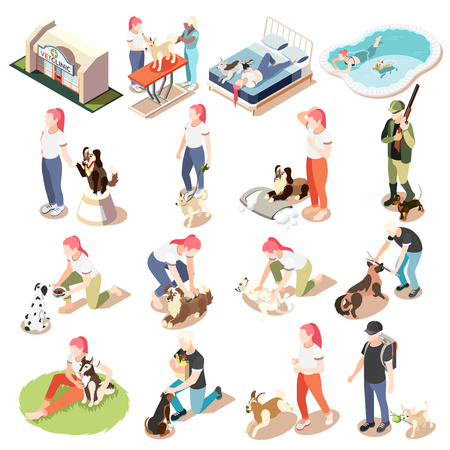 Ordinary life of man and his dog isometric icon set woman and man with their dogs vector illustration