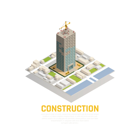 Colored isometric construction composition with construction of tower in the city center vector illustration