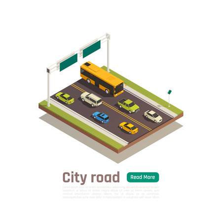 Colored and isometric city composition with city road headline and read more green button vector illustration