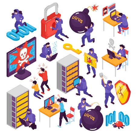 Isometric hacker set with isolated conceptual images with pictogram icons images of computer peripherals and people vector illustration