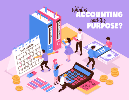Isometric accounting composition with small human characters and organizer elements of workspace calendar calculator and books vector illustration