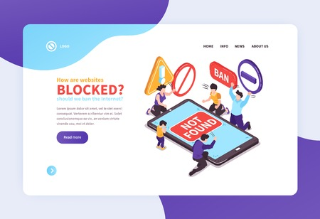 Isometric banned website concept banners web site landing page design background with text links and images vector illustration Illustration
