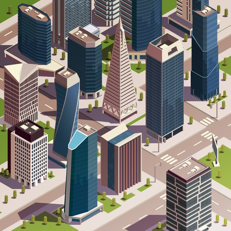 City skyscrapers isometric composition with realistic view of modern city block with tall buildings and towers vector illustration