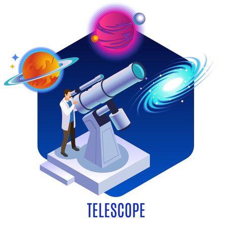 Astrophysics isometric background composition with astronomer observing colorful planets galaxy celestial bodies  with optical telescope vector illustration