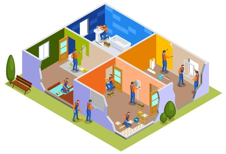 Home repair isometric composition with workers in apartment interior involved in painting walls laying tiles doors installation plumbing work vector illustration