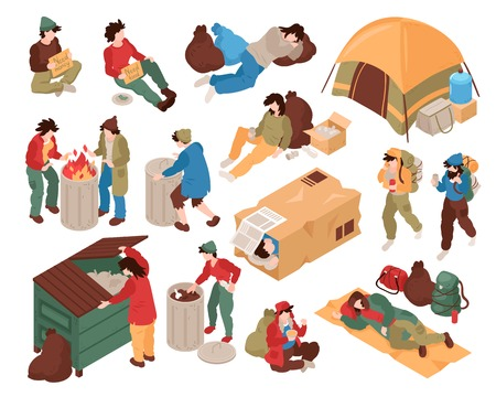 Set with isolated images of homeless people human characters and various related objects on blank background vector illustration