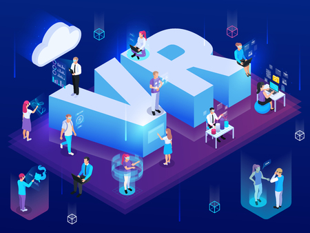 Virtual augmented reality 360 degree isometric composition of people with hi-tech pictogram icons and text vector illustration