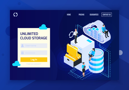 Cloud services isometric landing page website design background with login prompt clickable links and conceptual images vector illustration 向量圖像