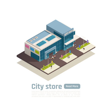 Store mall shopping center isometric composition with top view building and lawn vector illustration