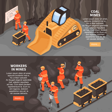 Mine set of two horizontal banners with more button editable text and images of mining machinery vector illustration