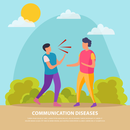 Communication diseases flat background illustrated transfer of bacteria through air when people talk vector illustration
