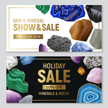 Gem minerals and rocks realistic horizontal banners with advertising of sale and colorful stone images vector illustration