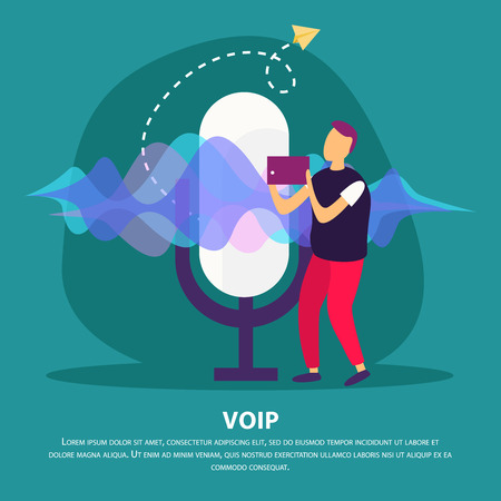 Voip communication flat background with man holding device with support voice over internet protocol service vector illustration