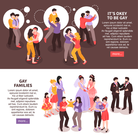 Isometric horizontal banners set with happy lgbt couples and families 3d isolated vector illustration Illustration