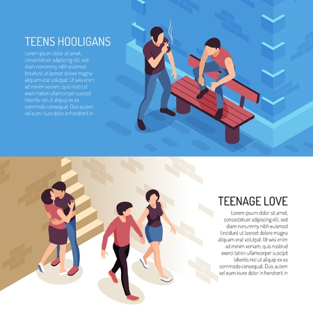 Isometric teenager banners with human characters of teenage people hooligans and couples in love with text vector illustration