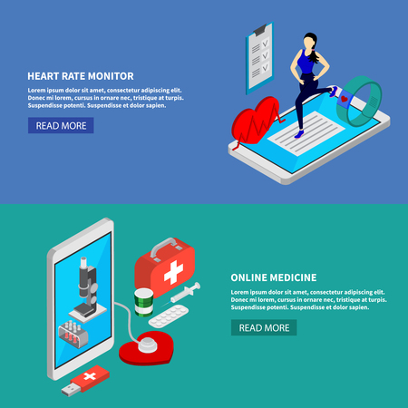 Mobile medicine isometric horizontal banners set with heart rate monitor symbols isolated vector illustration