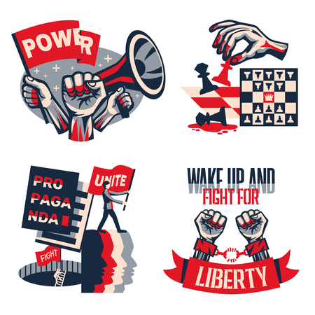 Revolution political slogans concept 4 vintage constructivist compositions set with calls unity liberty freedom isolated vector illustration Stock fotó - 120729049