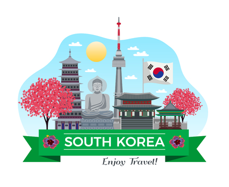 South korea tourism background composition with traditional buildings and sights with ribbon and editable text line vector illustration Illustration