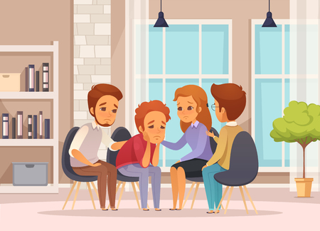 Colored and flat group therapy cartoon composition with psychotherapy session in classroom vector illustration