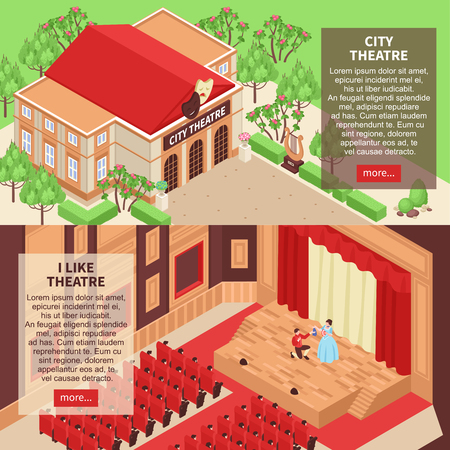 Set of two horizontal isometric banners with city theatre building and actors on stage 3d isolated vector illustration Illustration