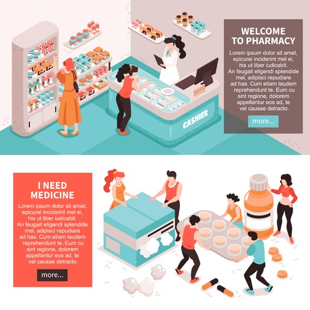Set of two horizontal pharmacy banners with conceptual images of meds human characters with more button vector illustration Illustration