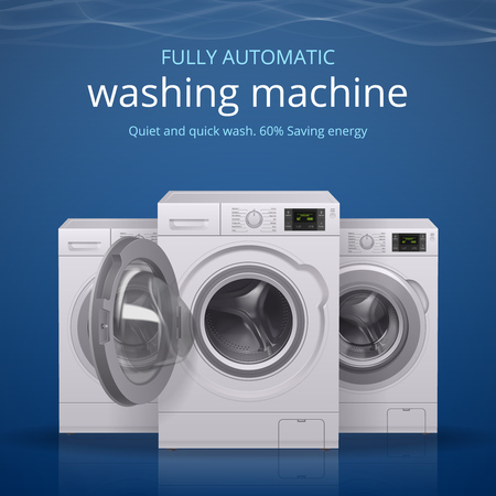 Washing machine realistic poster with quiet and quick wash symbols vector illustration Çizim