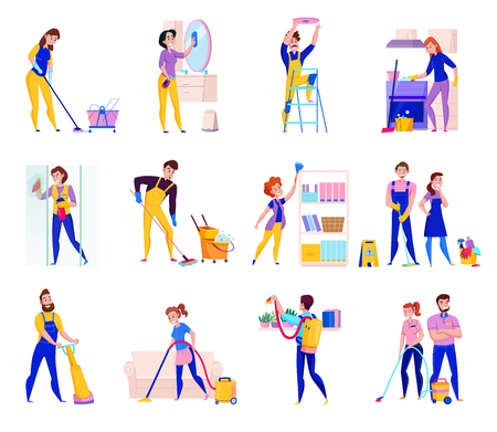 Service de nettoyage professionnel devoirs icônes plates sertie d'étagères époussetant douche planchers de lavage aspirateur isolé illustration vectorielle
