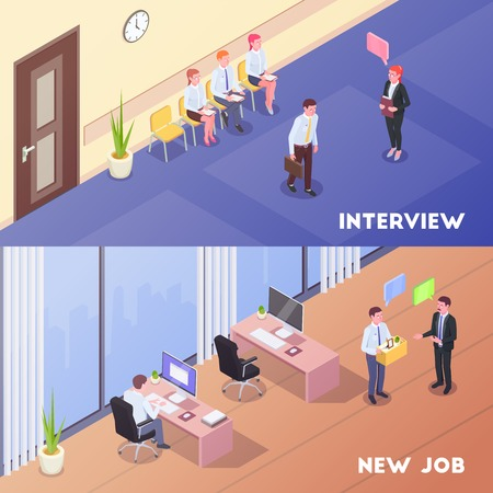 Recruitment isometric set of two horizontal background compositions with indoor office looks human characters and pictograms vector illustration