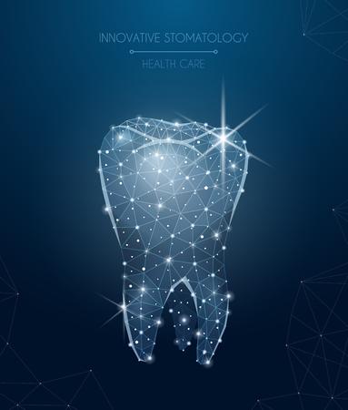 Innovatieve stomatologiesamenstelling met realistische vectorillustratie van gezondheidszorg en behandelingssymbolen