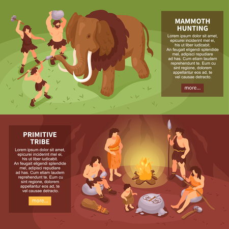 Isometric primitive people caveman set of two horizontal banners with more button text and human characters vector illustration