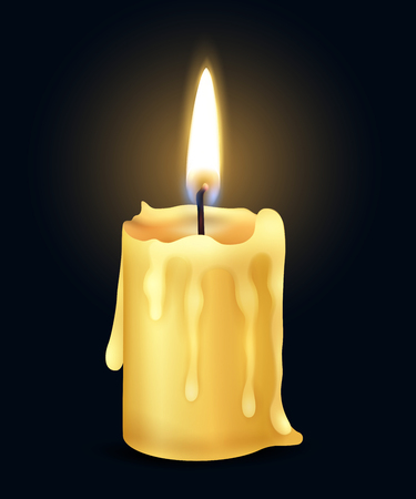 Isolated yellow realistic burning candle flame fire light composition in the dark vector illustration