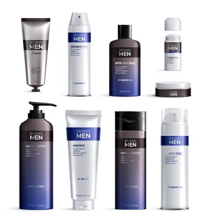Les bouteilles de cosmétiques pour hommes conçoivent une icône réaliste colorée avec des logos de lignes bleues et noires illustration vectorielle