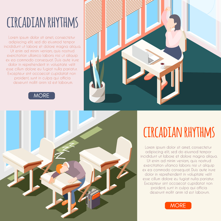 Human circadian rhythms isometric banner set with sleeping peoples and buttons more vector illustration