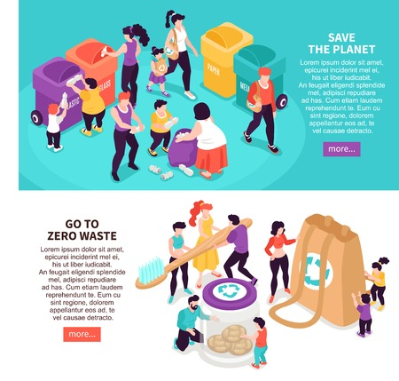 Horizontal isometric zero waste banners set with people saving planet and sorting rubbish 3d isolated vector illustration