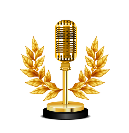 Gold vintage award desktop microphone decorated with wreath on white background realistic vector illustration 일러스트
