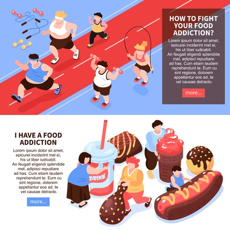 Set of two horizontal isometric overeating gluttony composition with images of people doing sports eating food vector illustration