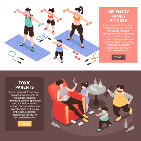Isometric positive and negative parenting set of two horizontal banners with family fitness and toxic parents vector illustration  イラスト・ベクター素材