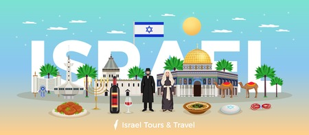 Israel travel concept with trips and holidays symbols flat vector illustration