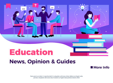 Education page design with news opinion and guides symbols flat vector illustration