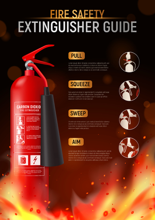 Fire extinguisher vertical poster with big image of fire-fighter flame and editable text with pictograms vector illustration