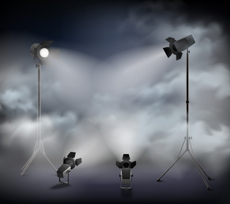 Spotlights in fog special theatrical   atmospheric effects with clouds mist haze smoke light realistic image vector illustration