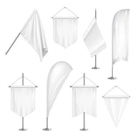 Various sizes shapes pennants banners flags  white blank hanging and on pole stands realistic set vector illustration Ilustração