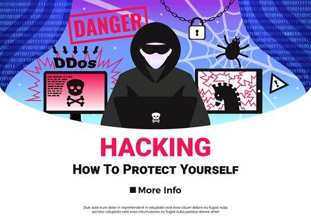 Hacker poster with online danger and sttacks symbols flat vector illustration Çizim