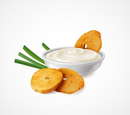 Realistic composition with green onion and bowl of sour cream as flavoring additives for snacks vector illustration Illustration