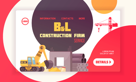 Construction landing page layout with contact information about firm and place for logo flat vector illustration Illustration