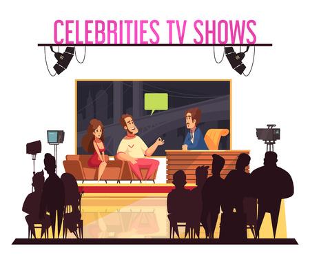 Programa de preguntas de celebridades de televisión con pareja famosa de anfitrión dando respuestas operador de cámara siluetas de audiencia ilustración vectorial de dibujos animados