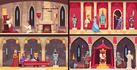 Kasteel interieur concept 4 platte scènes set met koning eetzaal troon en balzalen geïsoleerde vector illustratie Vector Illustratie