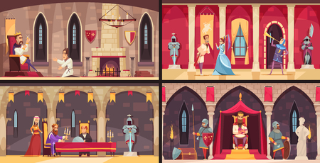 Castle interior concept 4 flat scenes set with king dining hall throne and ballrooms isolated vector illustration